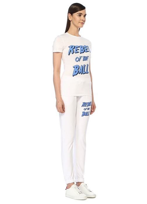 Rebel Of The Ball Slim Fit Beyaz Baskılı T-shirt