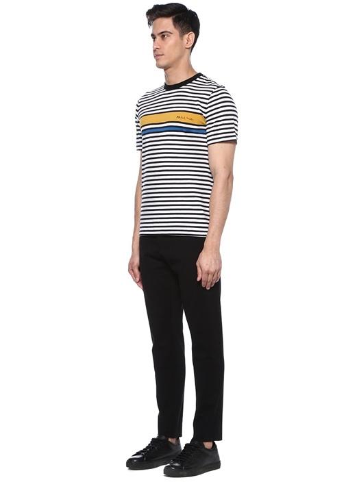 Regular Fit Siyah Beyaz Çizgili Logolu T-shirt