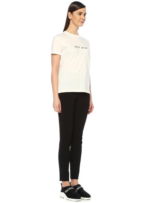 Beyaz Bisiklet Yaka Yazı Baskılı T-shirt