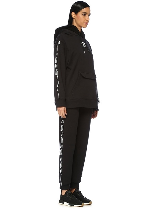 Olivia Leblanc Siyah Peluş Kapüşonlu Sweatshirt
