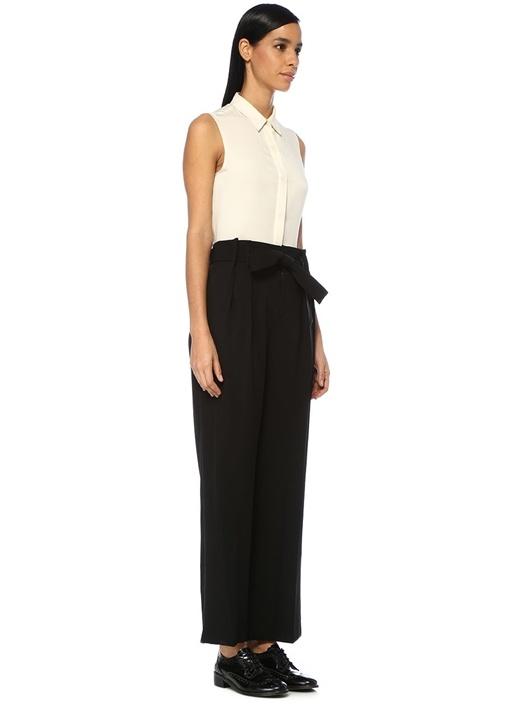 Siyah Yüksek Bel Bağcıklı Pileli Pantolon
