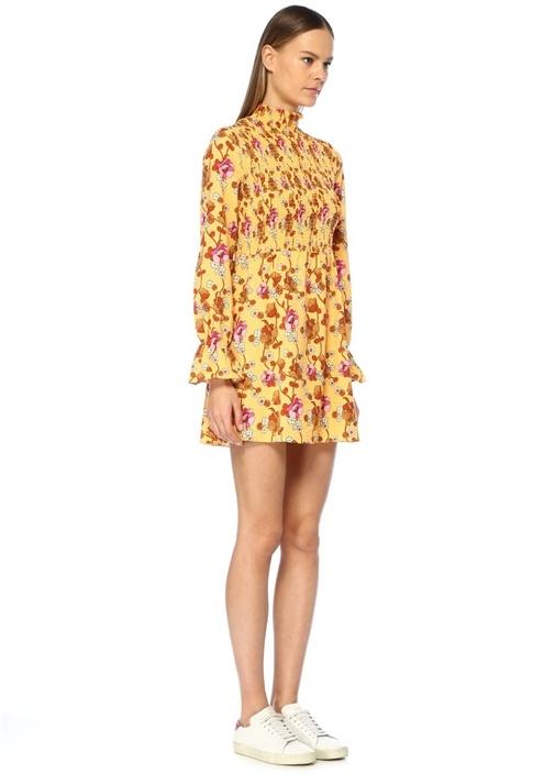 Sarı Dik Yaka Çiçekli Büzgülü Uzun Kol Mini Elbise