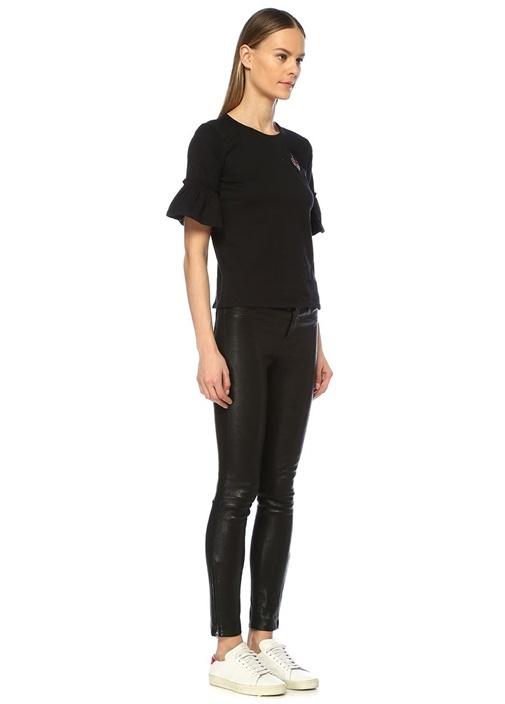 Siyah Kuş Nakışlı Fırfırlı Çan Kol T-shirt