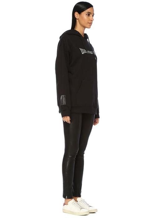 London Siyah Kapüşonlu Logo Baskılı Sweatshirt