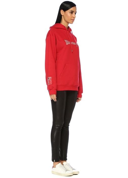 London Kırmızı Kapüşonlu Logo Baskılı Sweatshirt