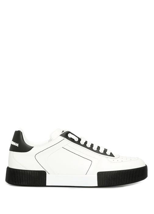 Beyaz Siyah Erkek Deri Sneaker