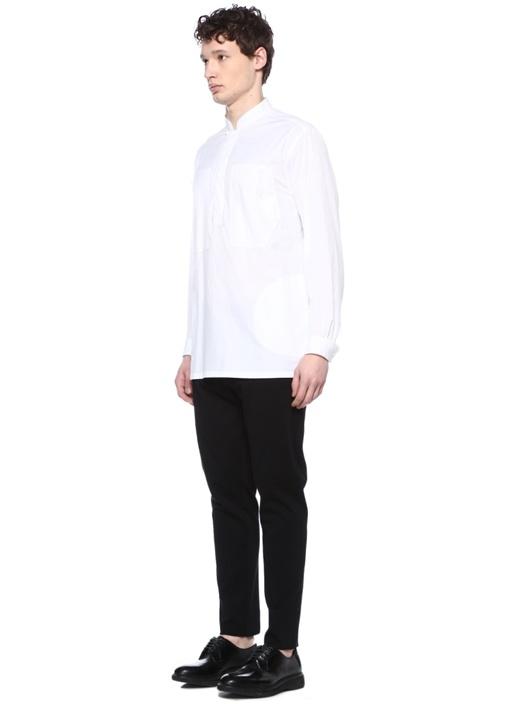 Beyaz Dik Yaka Mikro Desenli Gömlek