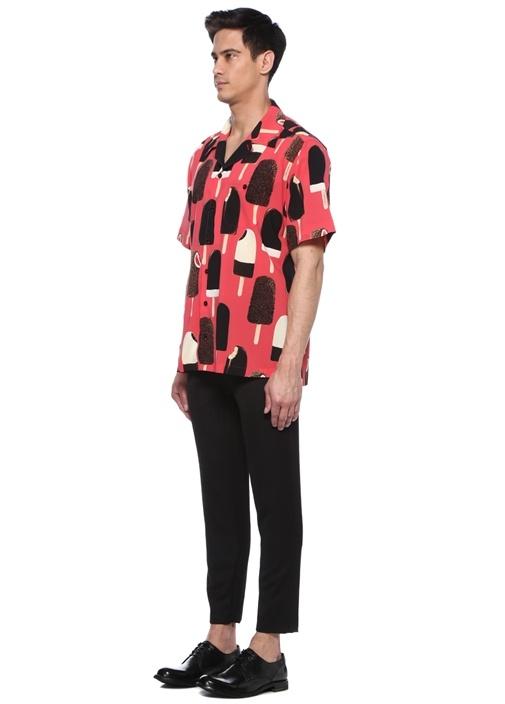 Hawaii Fit Pembe Dondurmalı Kısa Kol İpek Gömlek