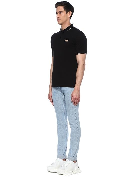 Siyah Polo Yaka Logo Patchli T-shirt
