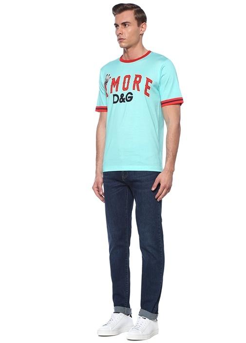 Amoro Yeşil Kırmızı Baskılı Basic T-shirt