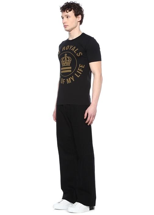 Millenials Siyah Bisiklet Yaka Logolu T-shirt
