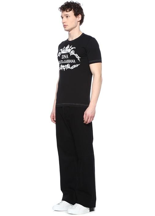 Siyah Dekoratif Dikiş Detaylı Logo Baskılı T-shirt