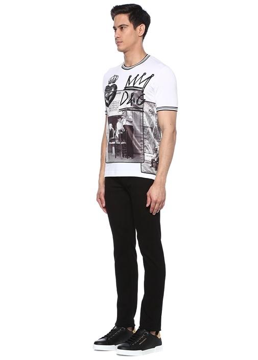 Beyaz Bisiklet Yaka Fotoğraf Garnili T-shirt