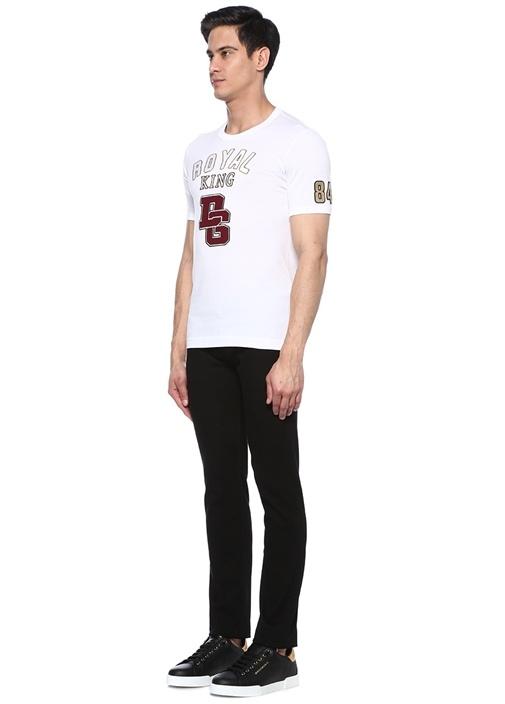 Millenials Beyaz Bisiklet Yaka Patchli T-shirt