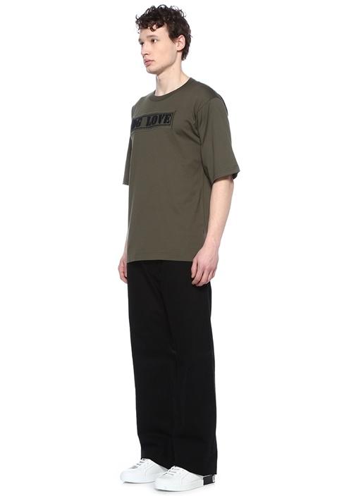 Haki Bisiklet Yaka Kabartmalı Logolu Basic T-shirt