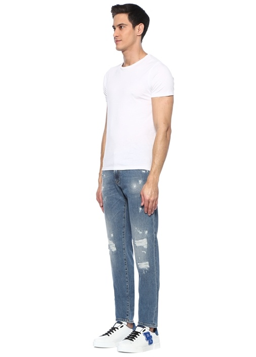Slim Fit Normal Bel Yıpratmalı Jean Pantolon