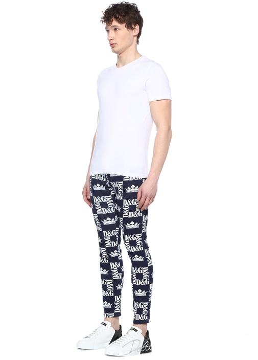 Skinny Fit Lacivert Logo Baskılı Jean Pantolon