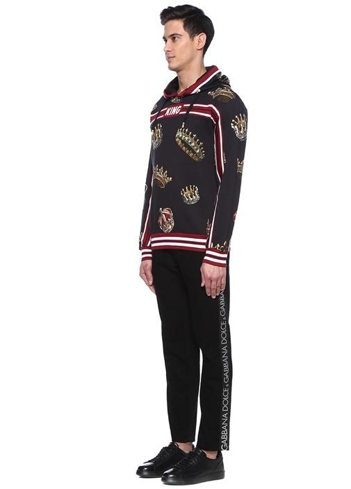 Regular Fit Siyah Logo Şerit Detaylı Jean Pantolon