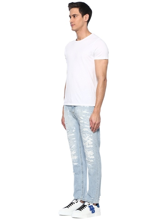 Regular Fit Normal Bel Yıpratmalı Jean Pantolon