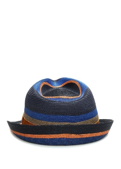 Mavi Çizgili Erkek Hasır Şapka