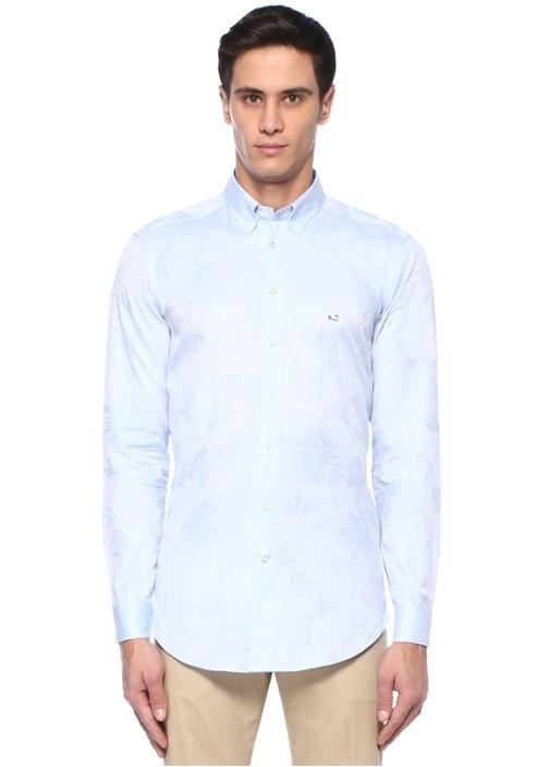 Mavi Düğmeli Yaka Etnik Desenli Oxford Gömlek