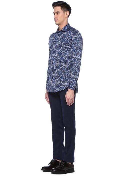 Mavi Şal Desenli İngiliz Yaka Gömlek