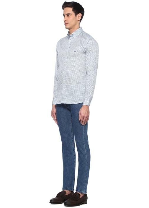 Beyaz Düğmeli Yaka Mikro Şal Desenli Gömlek