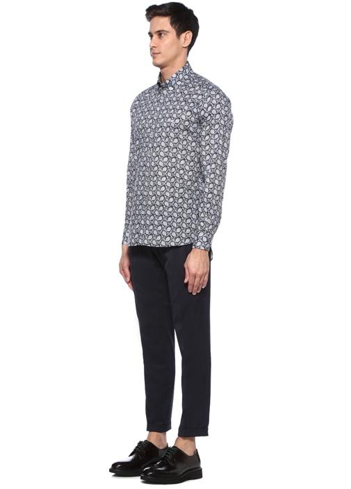 Lacivert Düğmeli Yaka Etnik Desenli Oxford Gömlek