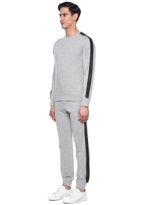 Gri Melanj Kolları Garni Şeritli Sweatshirt