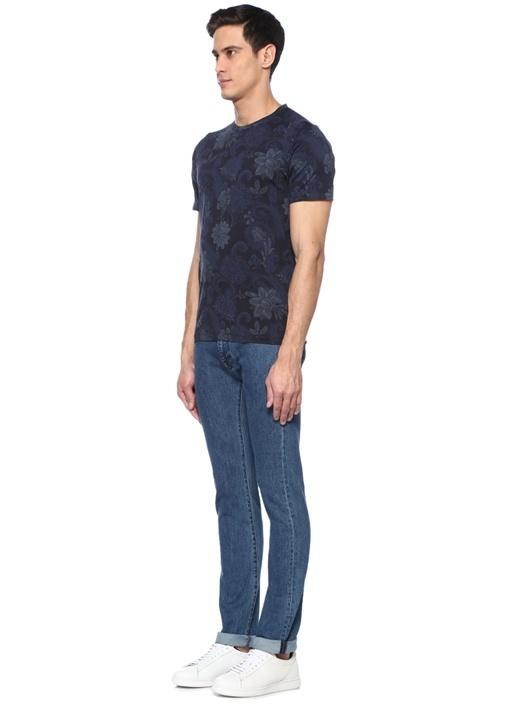 Lacivert Bisiklet Yaka Çiçekli Basic T-shirt