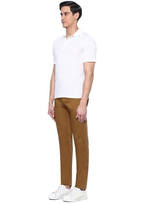 Beyaz Polo Yaka Etnik Desenli T-shirt