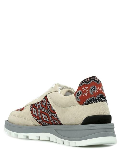 Kırmızı Vizon Etnik Desenli Erkek Deri Sneaker