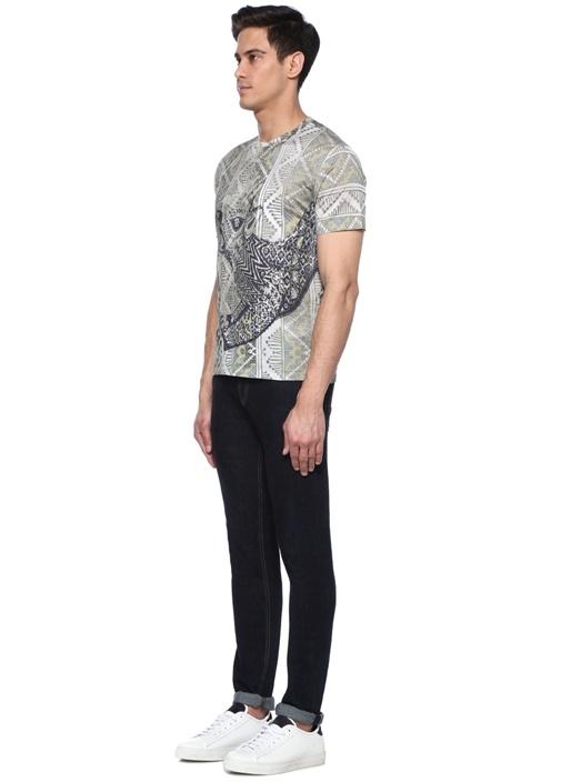 Yeşil Bisiklet Yaka Etnik Desenli BasicT-shirt