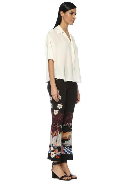 Siyah Yüksek Bel Bol Paça Desenli İpek Pantolon