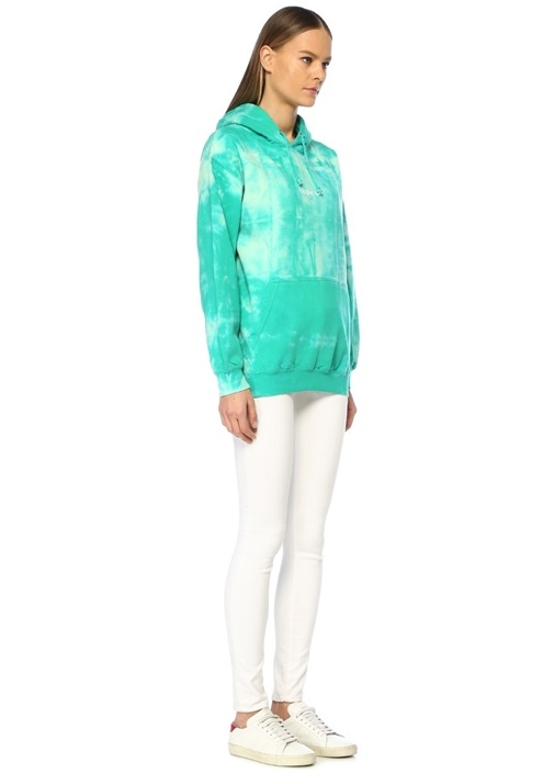 Hippie Yeşil Kapüşonlu Batik Desenli Sweatshirt