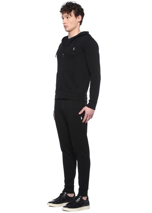 Performance Siyah Kapüşonlu Sweatshirt