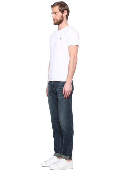 Custom Slim Fit Beyaz Logo Nakışlı T-shirt