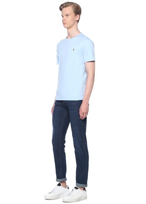 Custom Slim Fit Mavi Logo Nakışlı T-shirt
