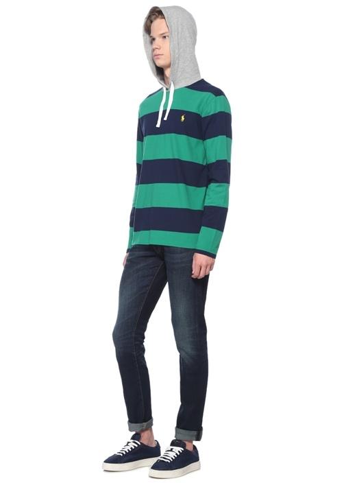 Yeşil Lacivert Kapüşonlu Çizgili Sweatshirt