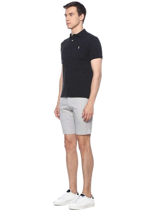Slim Fit Antrasit Polo Yaka T-shirt