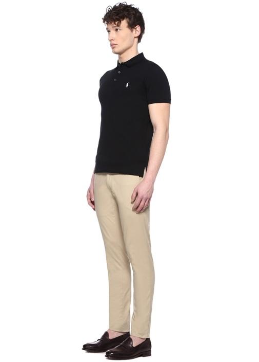 Slim Fit Siyah Logo Nakışlı Polo Yaka T-shirt