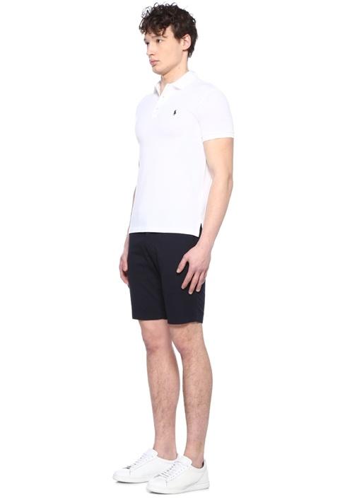 Slim Fit Beyaz Polo Yaka Logo Nakışlı T-shirt