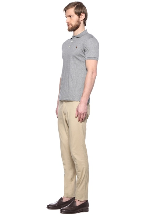 Slim Fit Gri Polo Yaka Logolu T-shirt