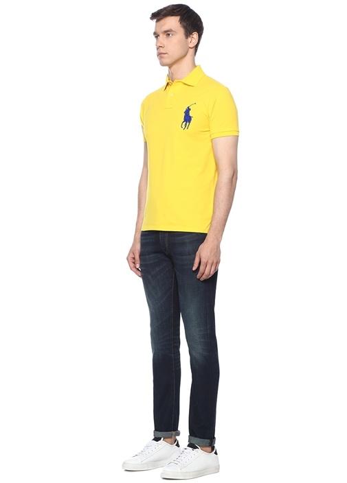 Custom Slim Fit Sarı Polo Yaka T-shirt