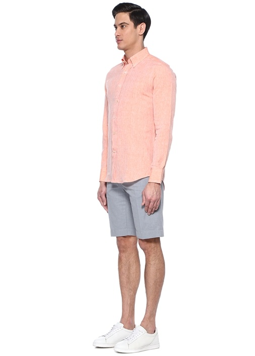 Modern Fit Turuncu Düğmeli Yaka Keten Gömlek