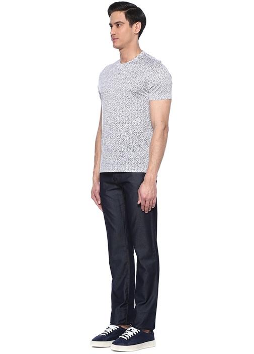 Lacivert Beyaz Logo Baskılı Basic T-shirt