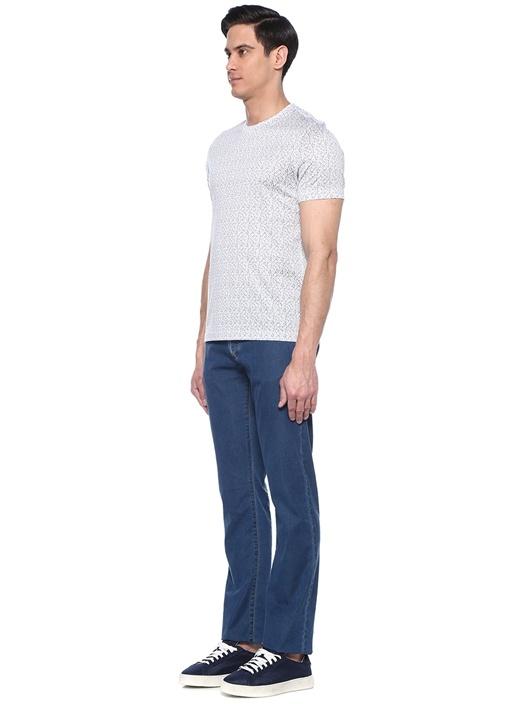 Mavi Beyaz Logo Baskılı Basic T-shirt