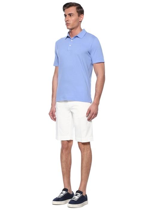 Mavi Polo Yaka Dokulu T-shirt