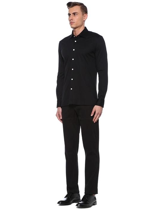 Siyah İngiliz Yaka Gömlek