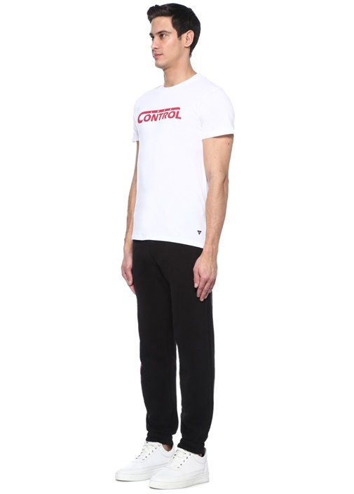 Control Beyaz Bisiklet Yaka Baskılı T-shirt